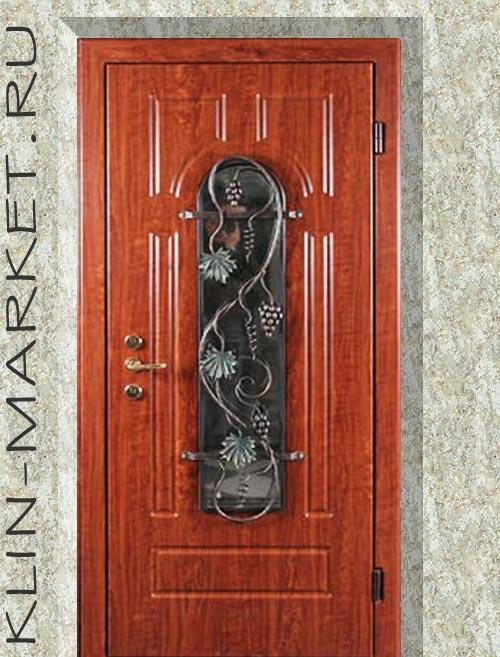 металлические двери со стеклом и с кованными элементами